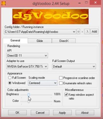 Интерфейс dgVoodoo Setup