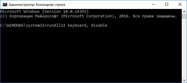 Пишем команду rundll32 keyboard, disable