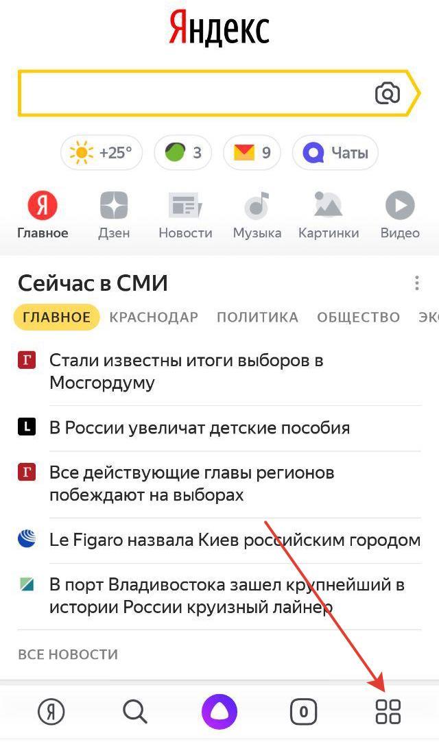 Нажимаем на пункт Настройки в Яндекс