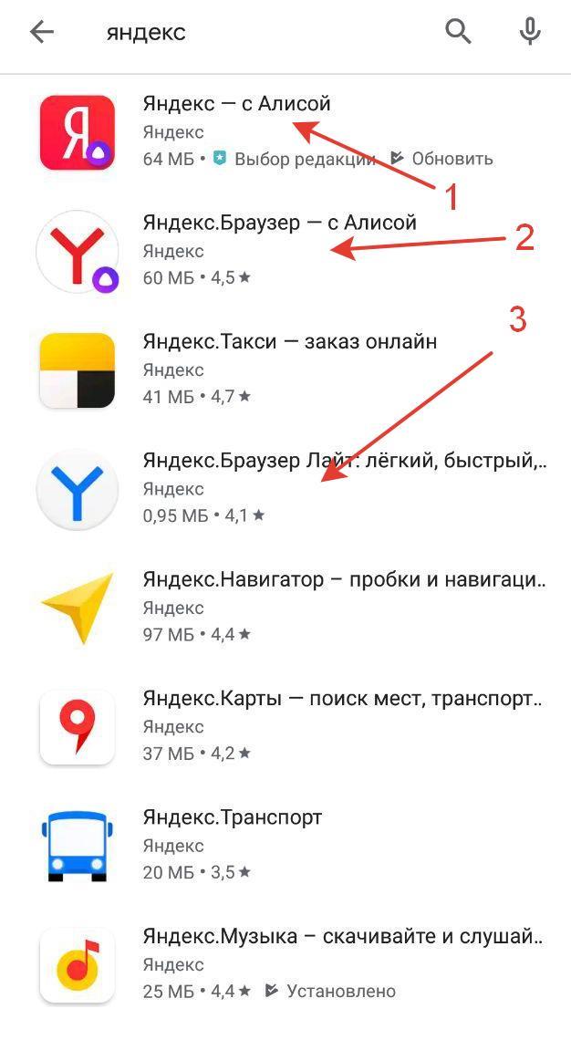 Разновидности Яндекс приложений