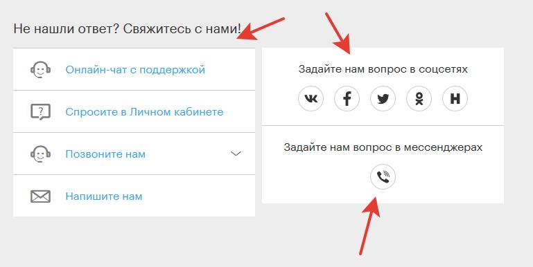 Способы связи с поддержкой Мегафона
