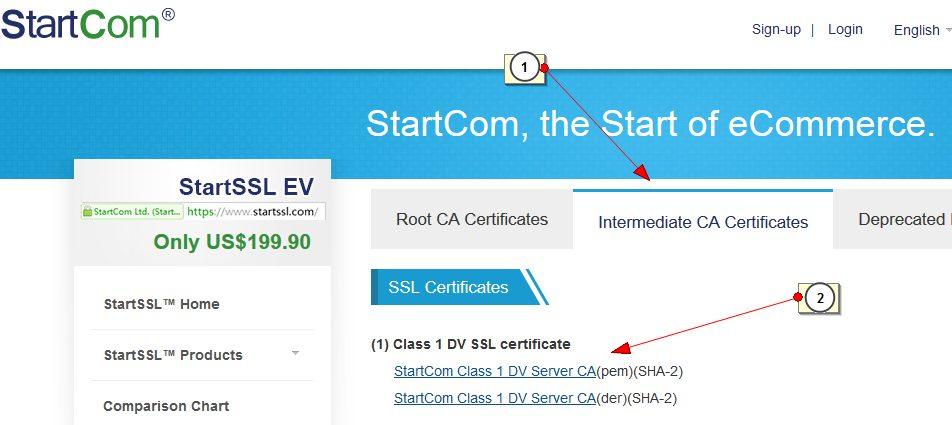 Скачиваем StartCom Class 1 DV Server CA