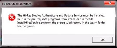 Ошибка Hi Rez Steam Interfacee