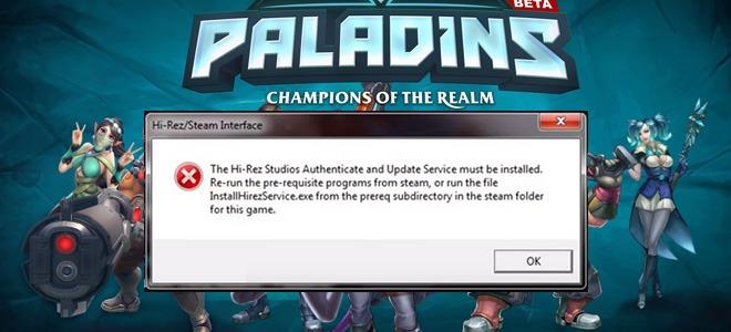 Paladins ошибка запуска и входа, ошибки Hi Rez Steam Interface