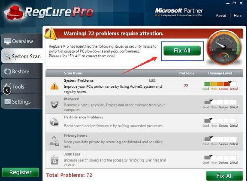 Чистим реестр программой RegCure Pro