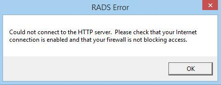 RADS Error Could not connect to the HTTP