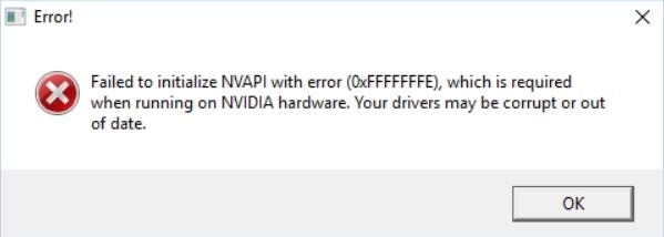 Failed to initialize NVAPI with error