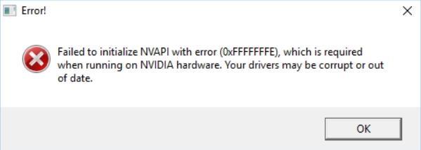 Failed to initialize NVAPI with error