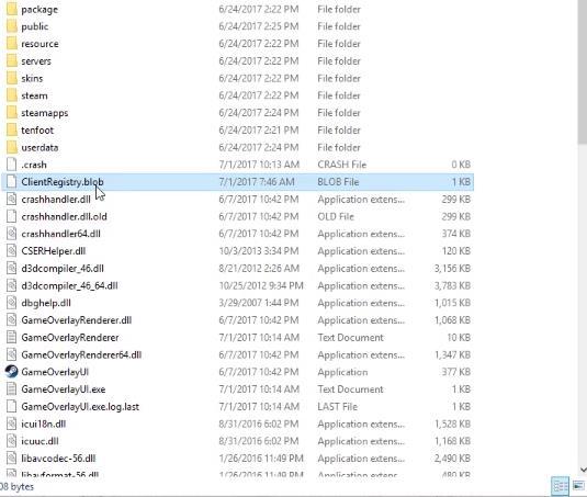Удалите файл ClientRegistry.blob