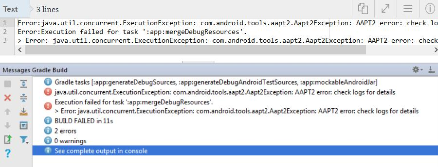 Ошибка Error:com.android.tools aapt2 Aapt2Exception  AAPT2 ошибка: check logs for details