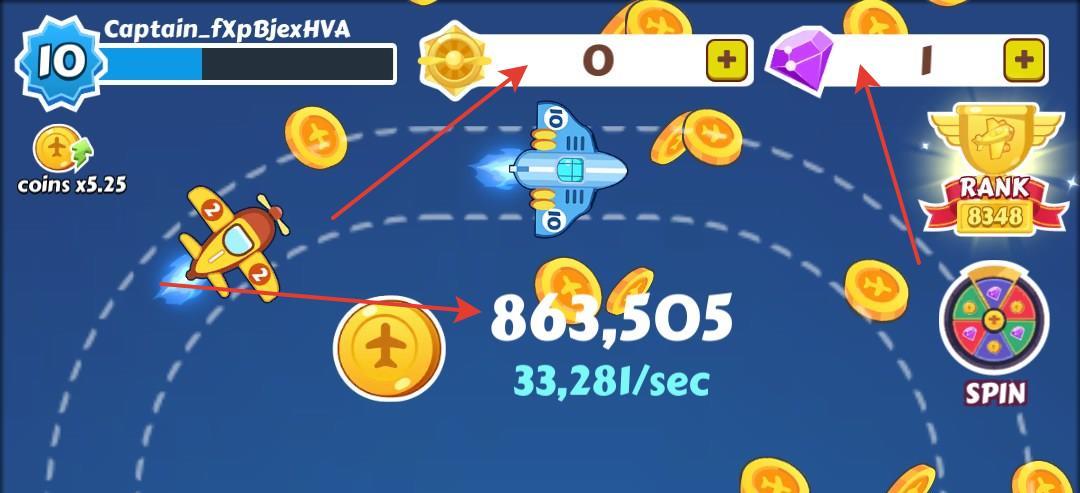 Merge Plane - виды игровой валюты