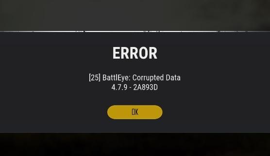 PUBG Error 25 BattlEye Corrupted Data