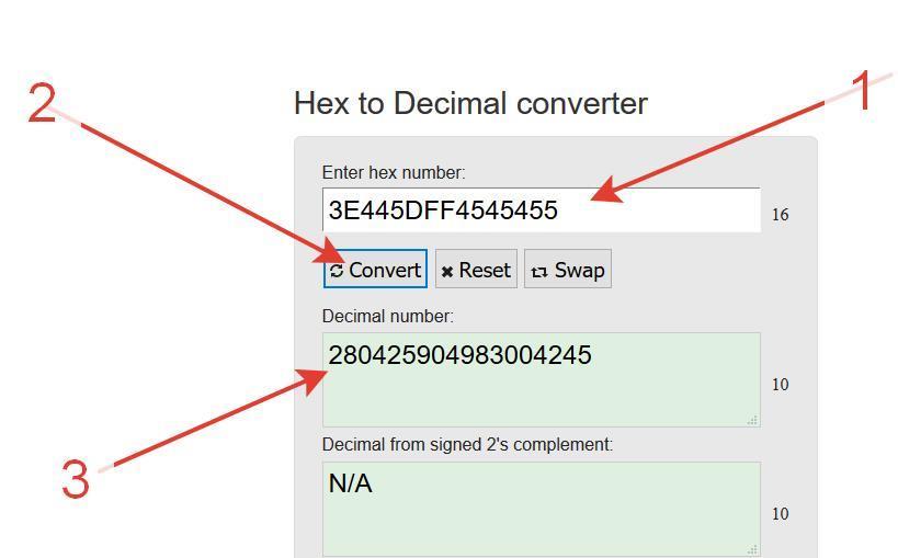 Конвертируем строку на сайте Hex To Decimal Converter