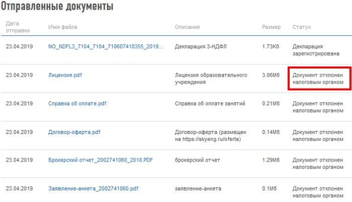 Форма отчёта отправленных документов и их статусы