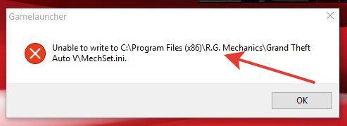 Unable to write to C Program Files(x86) R.G.Mechanics