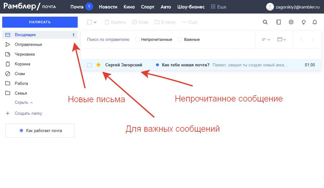 Навигация в новом интерфейсе почтового клиента
