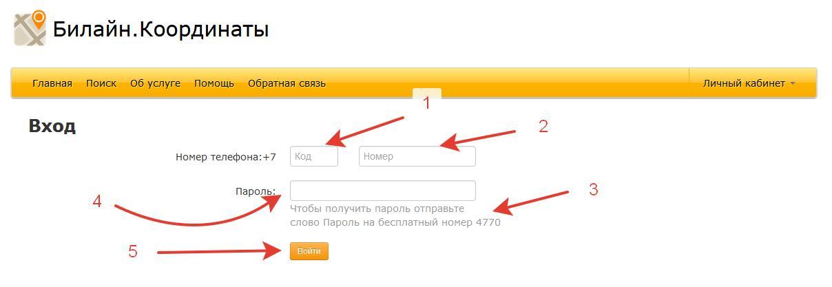 Регистрация на сайте Билайн.Координаты