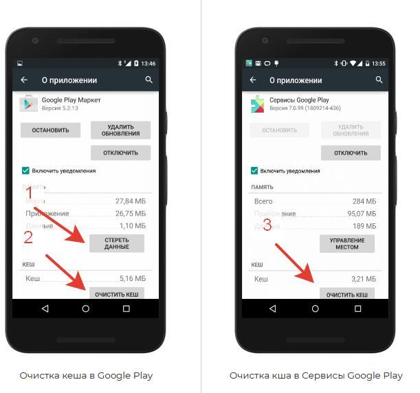 Очистка кеша и данных в Плей Маркет и Гугл Сервисах