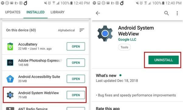 Откат к заводской версии Android System WebView