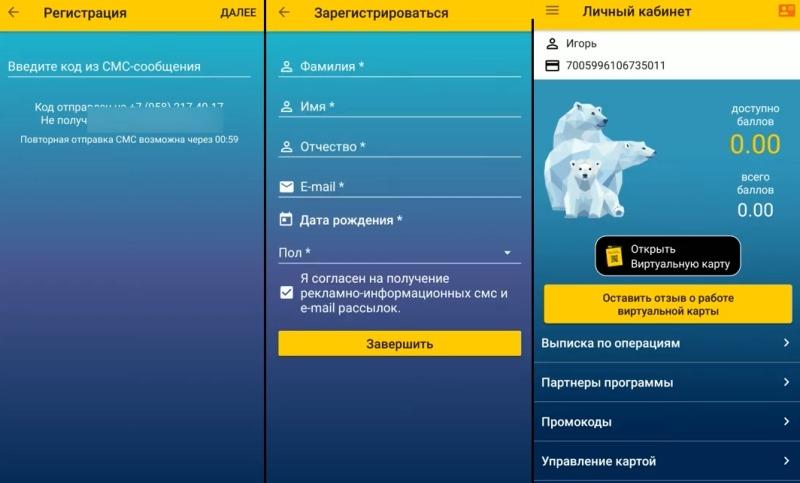 Заполнение профиля виртуальной карты Роснефти