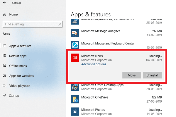 "Удаление Microsoft News через ""Настройки"""