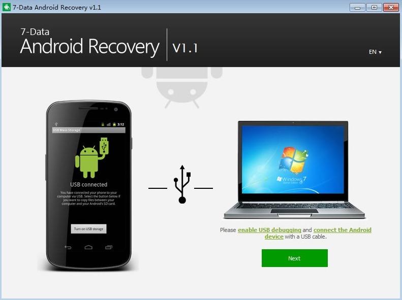 синхронизация с гаджетом в 7-Data Android Recovery