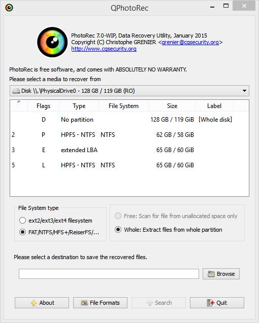 выбор параметров поиска PhotoRec