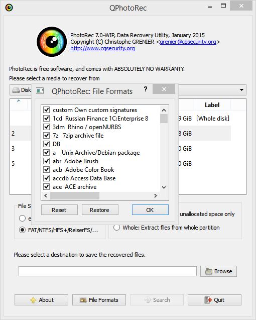 выбор параметров PhotoRec