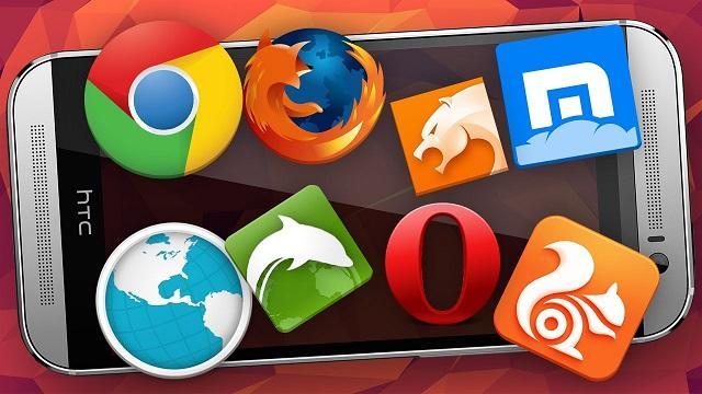 различные значки браузеров на фоне смартфона